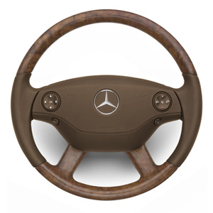 2009 Mercedes S-Class Wood and Leather Steering Wheel - Burl/Beige heated