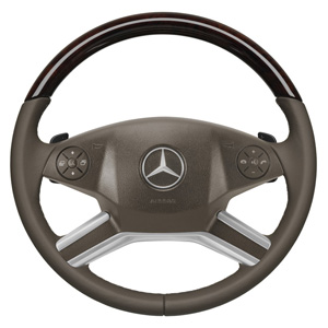 2011 Mercedes M-Class Wood and Leather Steering Wheel - Bl 6-6-26-8335
