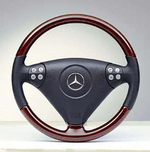 2008 Mercedes SLK-Class Wood and Leather Steering Wheel 6-6-81-7806