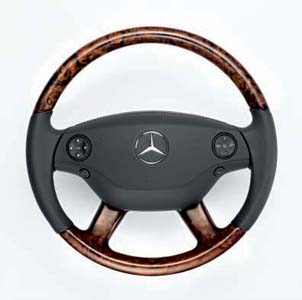 2007 Mercedes S-Class Wood and Leather Steering Wheel